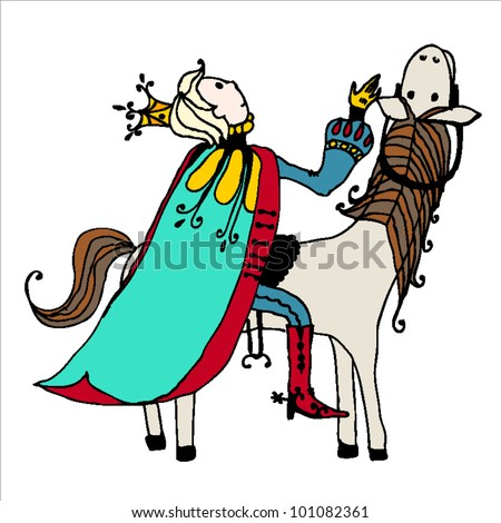 Prince charming on white horse - stock vector