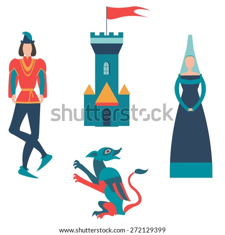 prince , princess, castle and dragon - stock vector