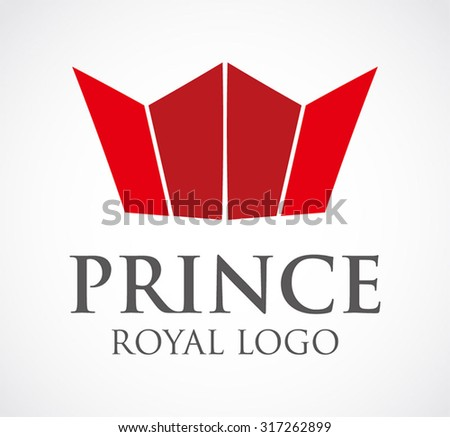 Prince royal flat crown abstract vector logo design template king business icon company identity symbol concept - stock vector