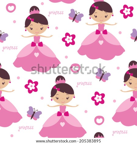 princess and flower pattern vector illustration - stock vector