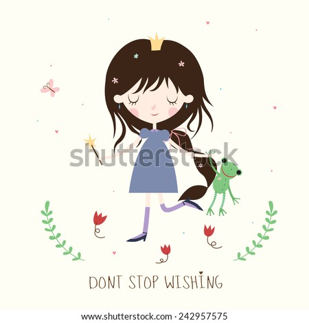 Princess and frog illustration. Whimsical background or card. Vector. - stock vector