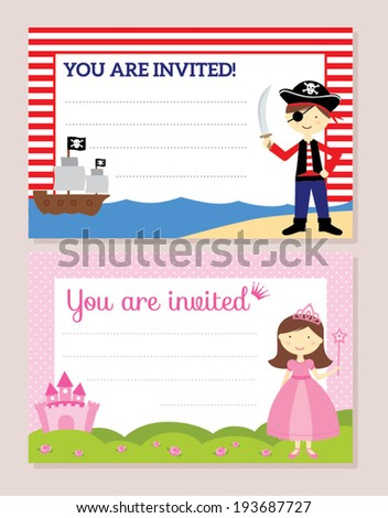 Princess pirate invitation card stock vector 193687727 shutterstock princess and pirate invitation card stopboris Gallery
