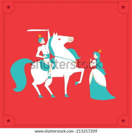 princess and prince with horse vector - stock vector
