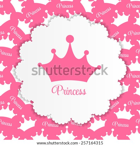 Princess  Background with Crown Vector Illustration EPS10 - stock vector