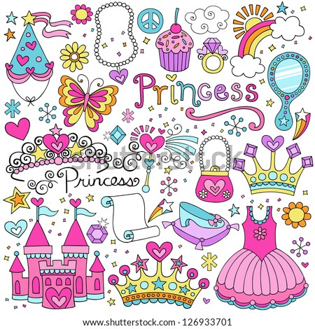 Princess Ballerina Tiara Groovy Fairy Tale Notebook Doodles Set with Tutu Dress, Crown, Magic Wand and more - stock vector