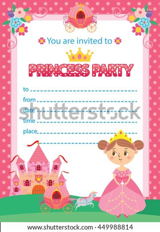 Princess Birthday Party Invitation Template Card Stock Vector - Party invitation template: princess party invitation template