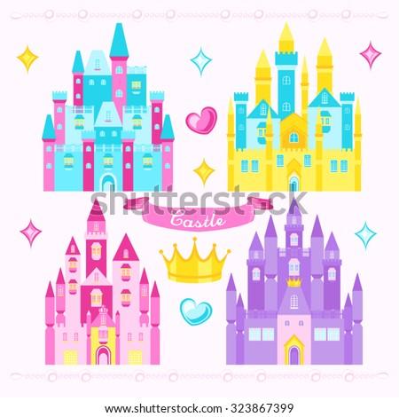 Princess Castle Vector Design Illustration - stock vector