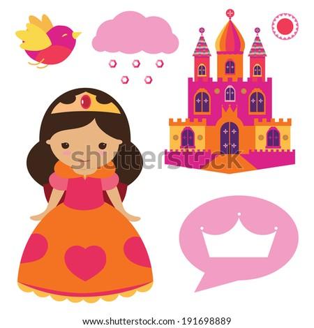 Princess clip art set - stock vector
