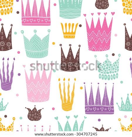 Princess crown. Kids vector seamless pattern. - stock vector