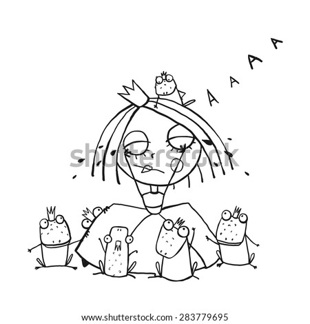 Princess Crying and Many Prince Frogs Coloring Page Outline Drawing. Fun childish hand drawn outline illustration for kids fairy tale. - stock vector