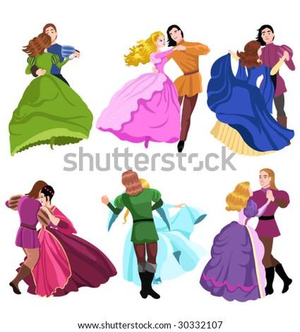 princess dance - stock vector