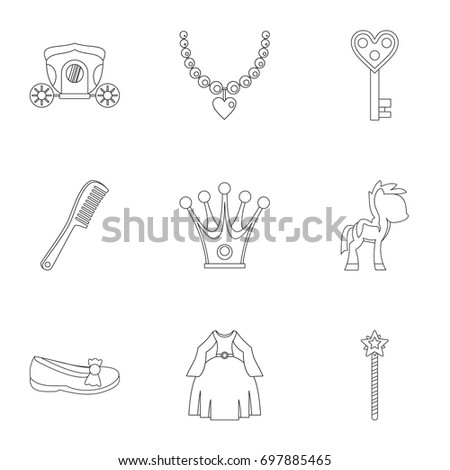 Princess Fairy Tail Icon Set Outline Style Of 9 Vector Icons