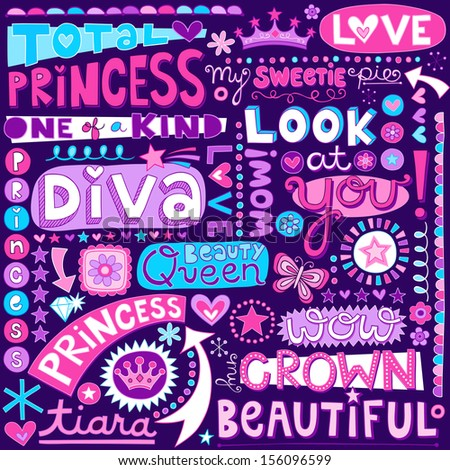 Princess Fairy Tale Diva Word Doodles Lettering with Tiara, Crown, and Diamond- Hand Drawn Vector Illustration - stock vector