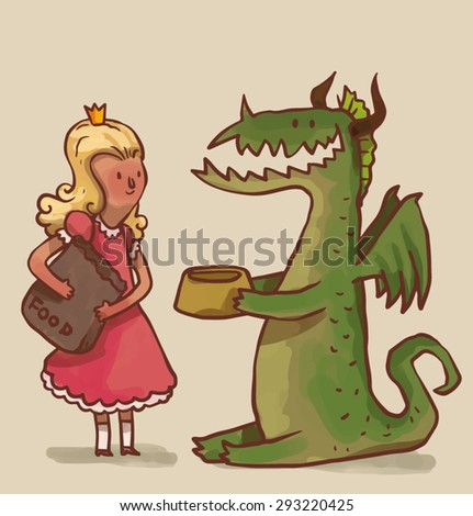 Princess feed the dragon, vector - stock vector