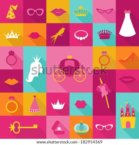 Princess Flat Icons Set - crown, lips, rings, hats - in vector - stock vector