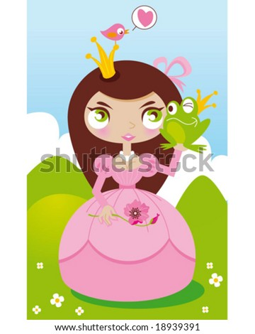 princess frog - stock vector