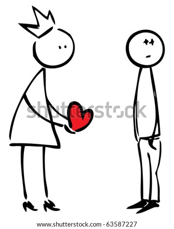 Princess gives her heart to man who doesn't want love. - stock vector