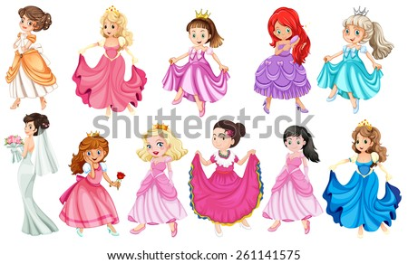 Princess in different beautiful dresses - stock vector