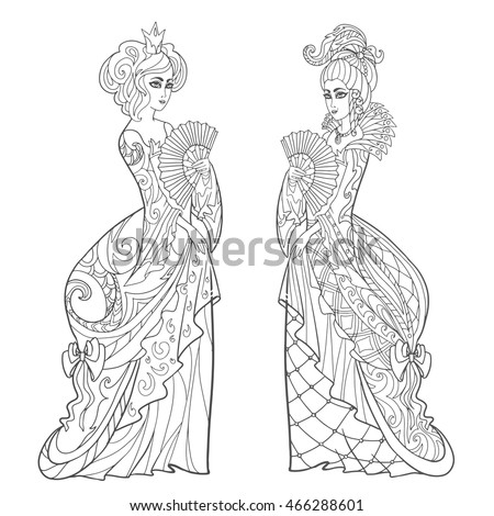 Princess In Luxury Vintage Dresses Adult Coloring Book