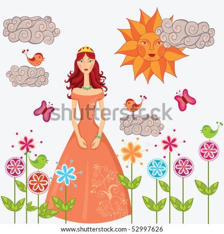 Princess in the flower garden - stock vector