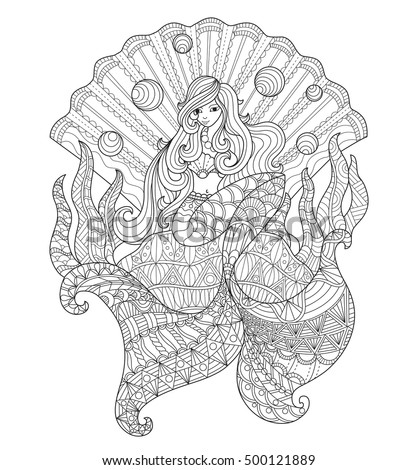 Princess Mermaid In The Seashell Zentangle Stylized Cartoon Isolated On White Background Hand Drawn