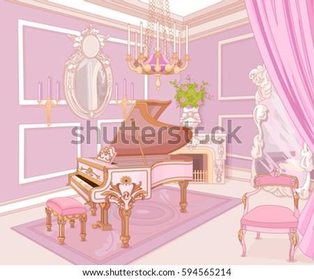 Princess Music Room Palace Stock Vector 594565214 - Shutterstock