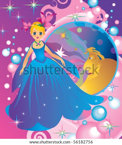 Princess of the night, book illustration - stock vector