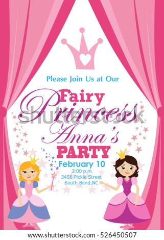 Princess party invitation stock vector 526450507 shutterstock princess party invitation stopboris Image collections