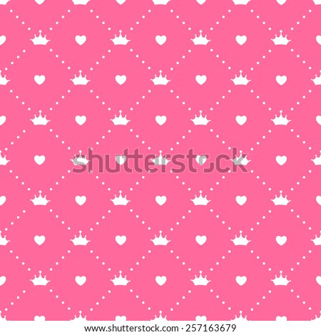 Princess Seamless Pattern Background Vector Illustration - stock vector