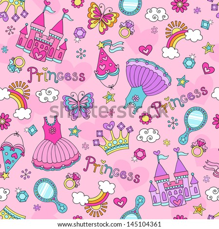 Princess Seamless Pattern Ballerina Tiara Groovy Fairy Tale Notebook Doodles Set with Tutu Dress, Castle, Crown, Magic Wand and more - stock vector