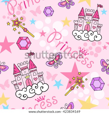 Princess Seamless Pattern for textile  with castle, crown, butterfly, stars, diamond. Abstract seamless pattern for girls. - stock vector