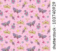 princess seamless pattern with cartoon wands, crowns, perfume bottles and butterflies - stock vector