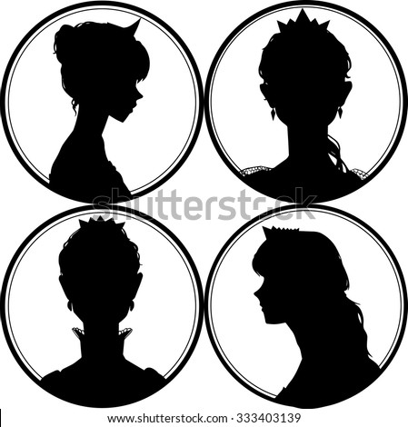 Princess silhouette. Portrait of a girl and crown on a white background