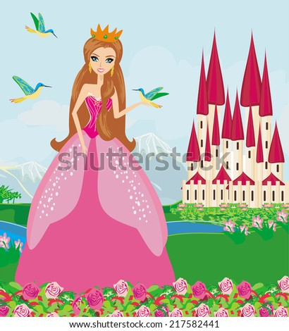 princess with birds in the garden