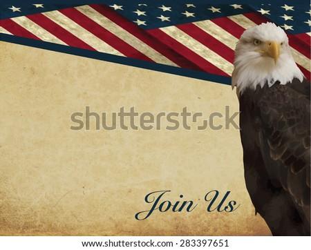 Print - American bald eagle, Haliaeetus leucocephalus, Patriotic invitation - horizontal - stock vector