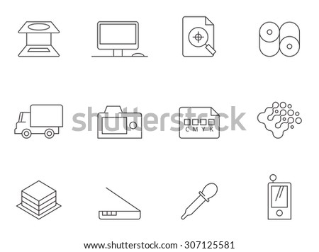 Print and graphic design icons in thin outlines. - stock vector