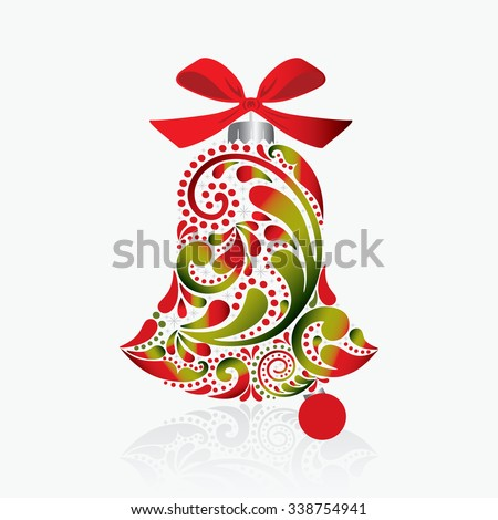 Print. Christmas bell of the leaf pattern. Isolated object.