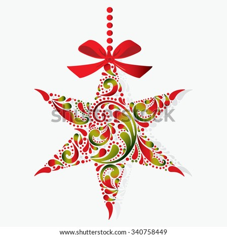 Print. Christmas star. Christmas toy. Isolated object.