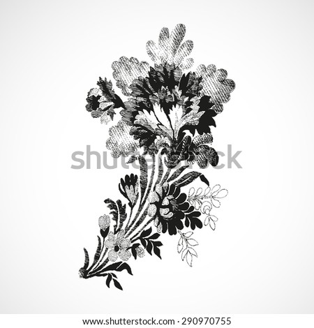 Print decoration twigs floral diagonal, spring petal flower leaf vector, botanical vintage twigs, leaves, flowers, summer graphic blossom elegant element drawing black, touch background vector white
