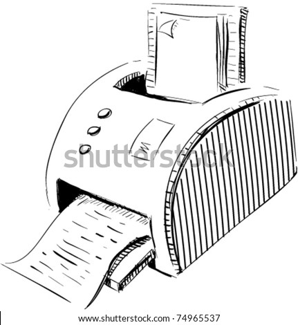 Print device sketch cartoon vector illustration - stock vector