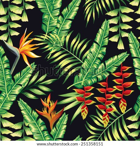 Print exotic tropic plants and palm trees, banana leaf with lobster claws flower, strelitzia on a black background. Seamless vector wallpaper pattern summer jungle art in trendy style of hand-drawing - stock vector