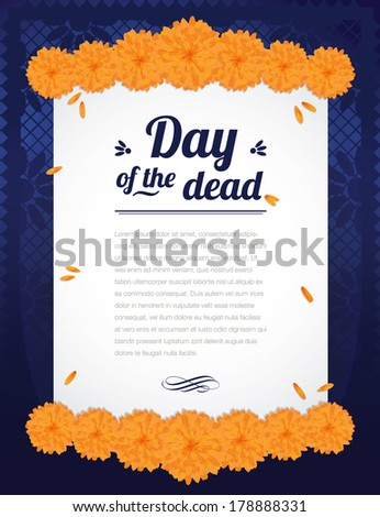 Print Flower Day of the Dead - stock vector
