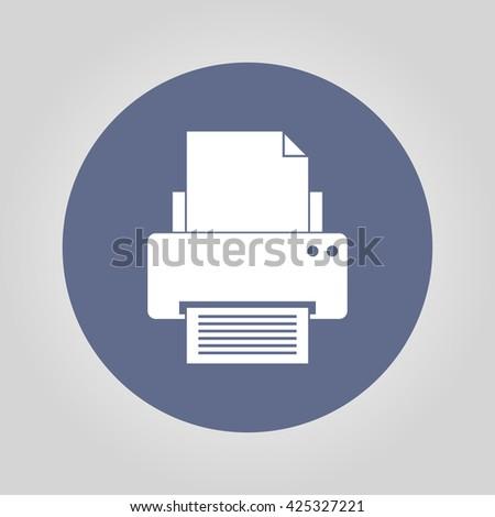 Print icon. Flat design style eps 10 - stock vector