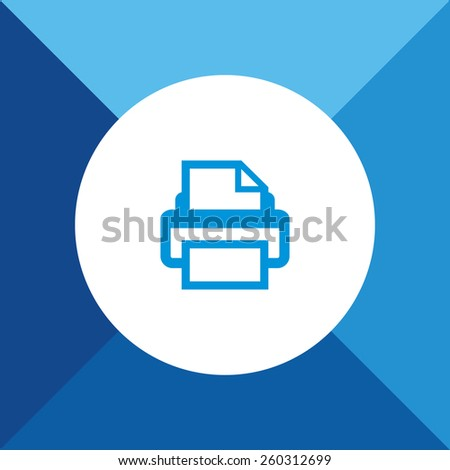 Print Icon on Blue Background. Eps-10. - stock vector