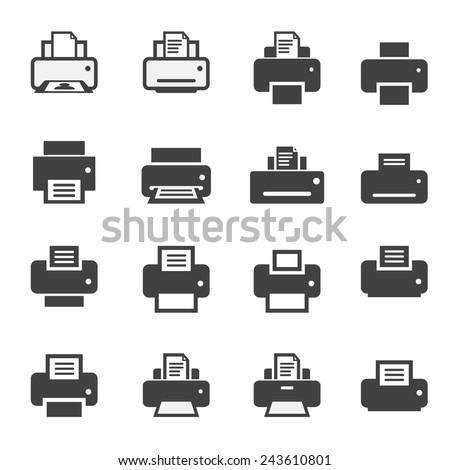 print  icon set - stock vector