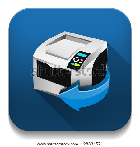print icon With long shadow over app button - stock vector