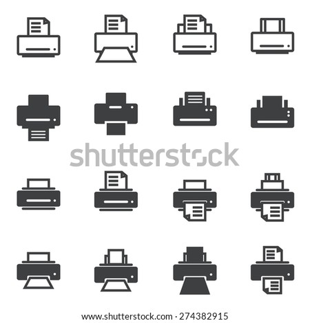 Print icons - stock vector