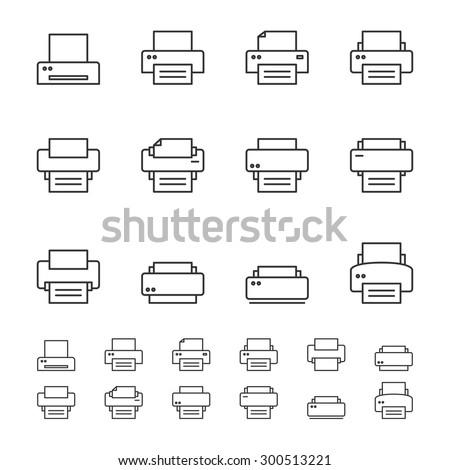 Print icons.Line icon set. - stock vector