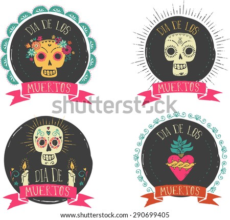 print - mexican sugar skull and heart set, day of the dead poster - stock vector