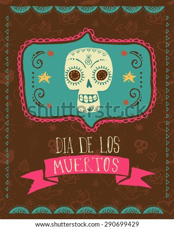 print - mexican sugar skull, day of the dead poster - stock vector